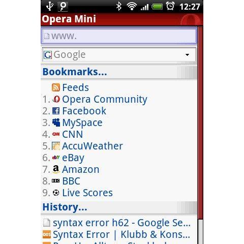 opera mini live scores