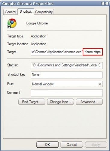 Force SSL-funktionen i Chrome
