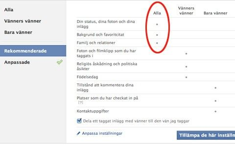 VÄLJ RÄTT INSTÄLLNING. Facebooks rekommenderade inställningar är inte att  rekommendera. Facebook vill att alla dina bilder 58c98a3881851