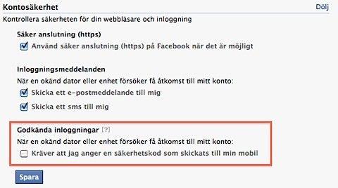 facebook godkända inloggningar