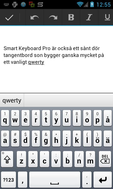 Jämförande test av tangentbord för Android - M3