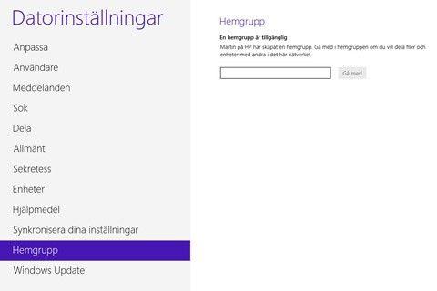 Windows 8 inställningar