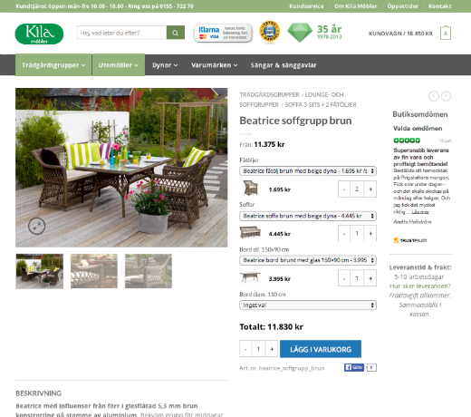 Produktsidan i WooCommerce.