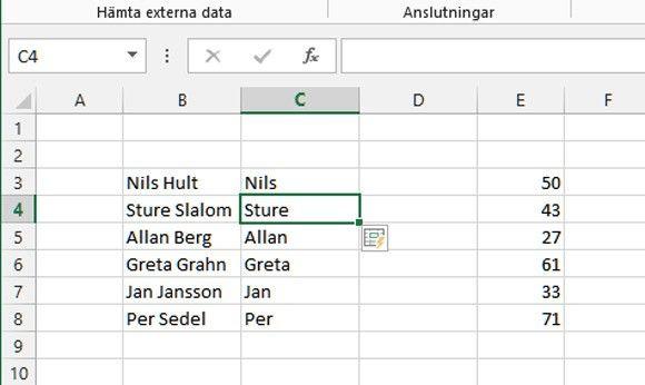 snabbfyllning Excel