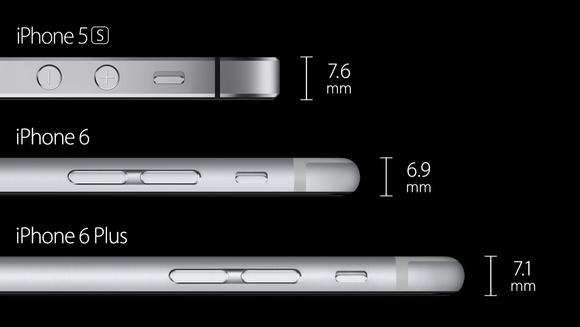 iPhone 6 och iPhone 6 Plus är båda tunnare än iPhone 5s. 872b6e0310d29