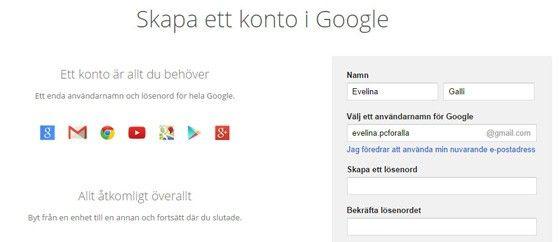 Gmail konto nytt