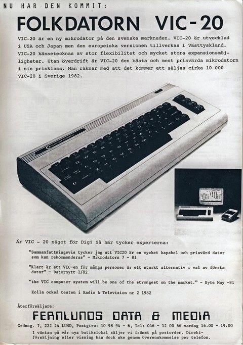 """Vic-20 marknadsfördes som """"folkdatorn"""" 1982."""