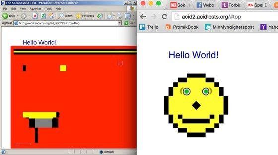 Internet Explorer misslyckas kapitalt med Acid 2-testet