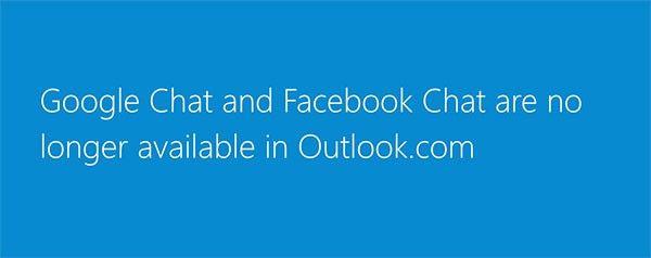 Facebook och Google Chat läggs ned på Outlook.com