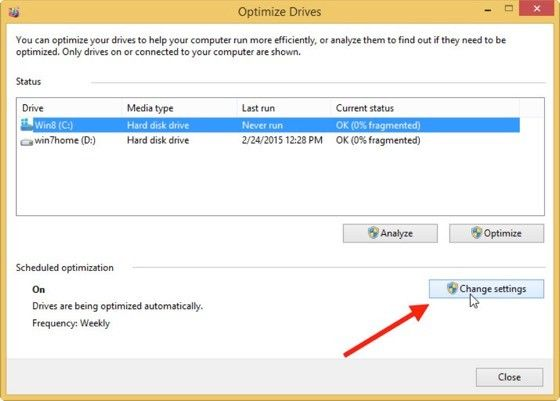 Defragmentering Windows 8