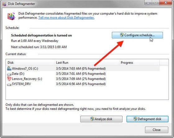 Defragmentering Windows 7