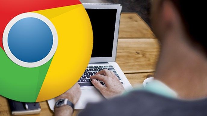Chrome-logga över laptop
