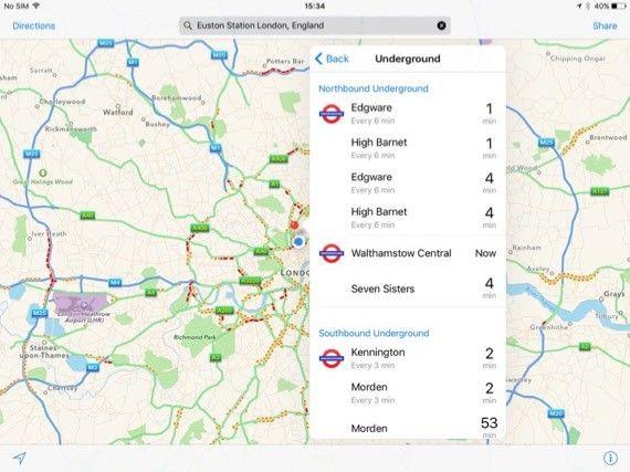 IOS 9 Kartor med kollektivtrafik