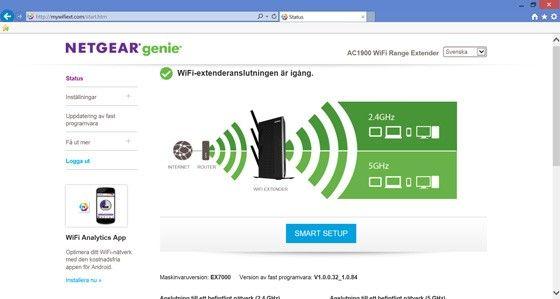 Netgear Nighthawk Wifi Range Extender EX7000 gränssnitt