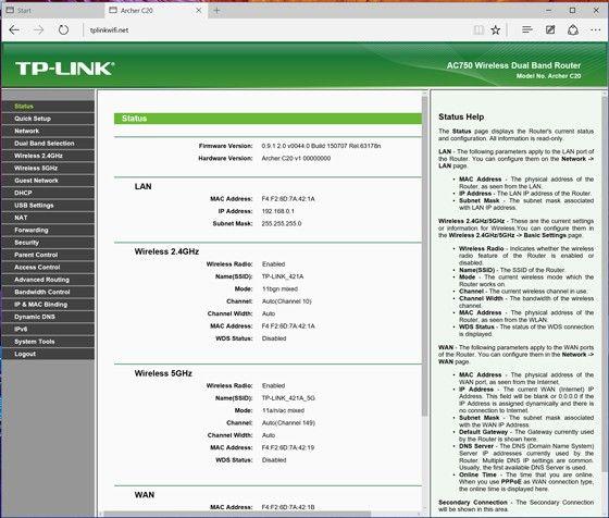 TP-links webbgränssnitt
