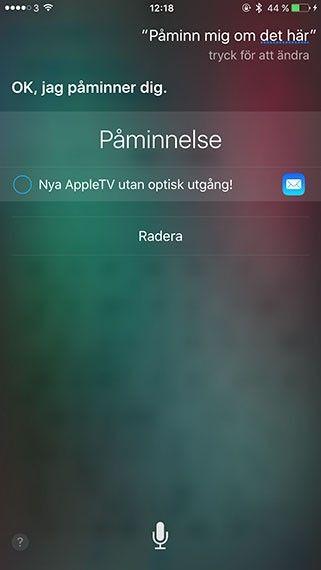 Siri påminnelse