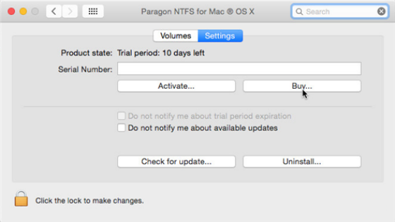 NTFS for Mac aktivering