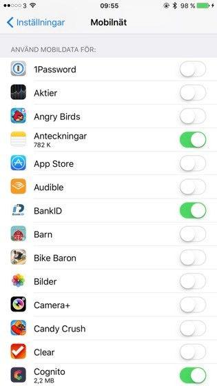 Stäng av mobildata per app på IOS