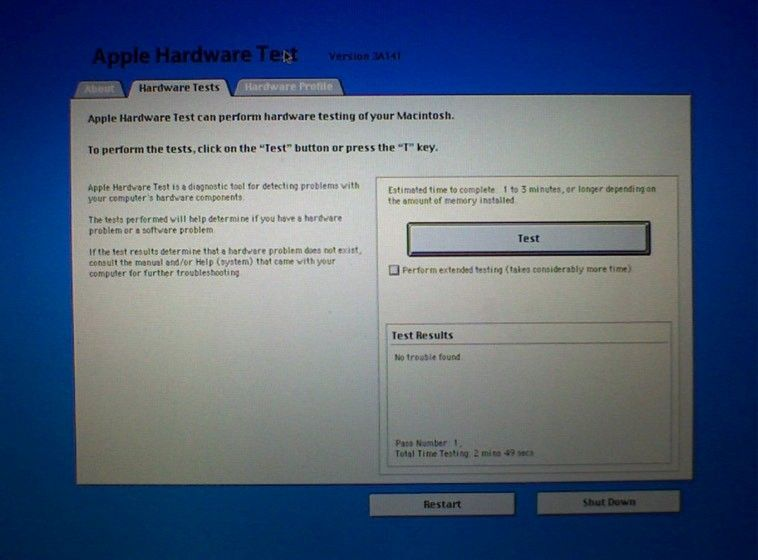 Apples diagnostikprogram på gammal Mac