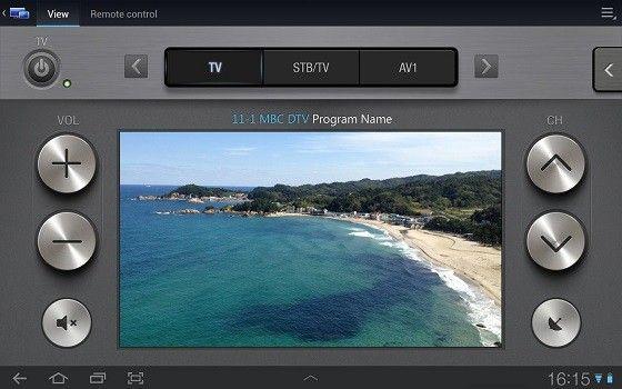 En digital app med en bild på ett kustområde