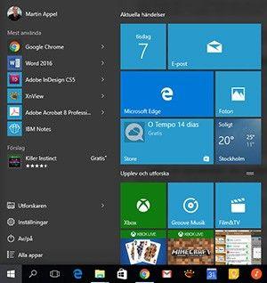 Start-meny Windows 10