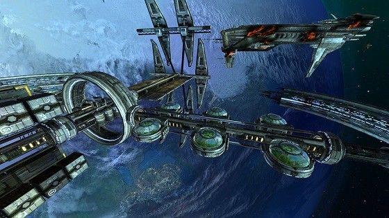 Stora rymdstationer som hänger i rymden.