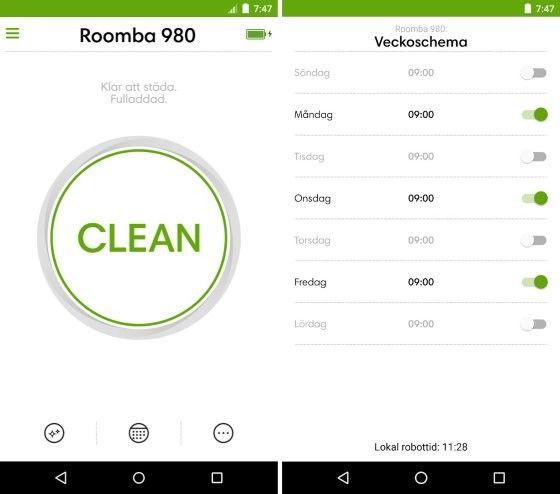 Roomba 980 styr du med fördel med en app.