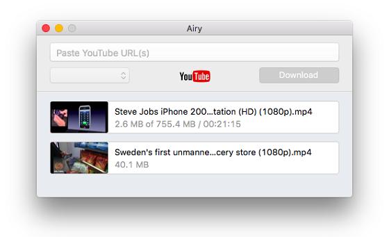 En ruta för länk, en knapp och lista på nedladdade filer.