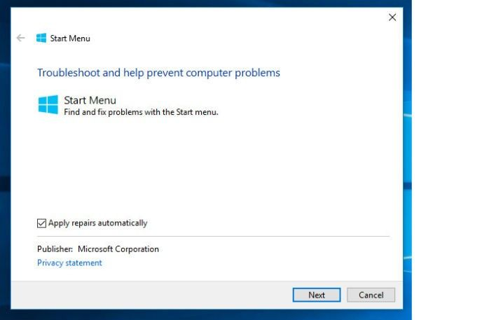 start menu troubleshooter i Windows 10