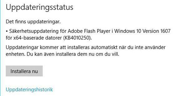 Windows hittar självt sina uppdateringar och installerar dem. Allt du behöver göra är att välja när datorn ska startas om.