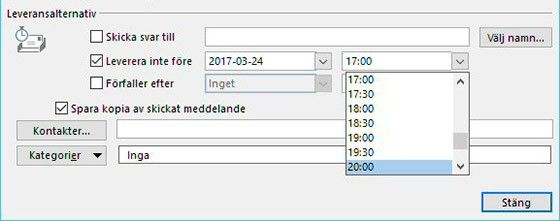 Vänta lite. I Outlook kan du enkelt välja att skicka vid en senare tidpunkt.