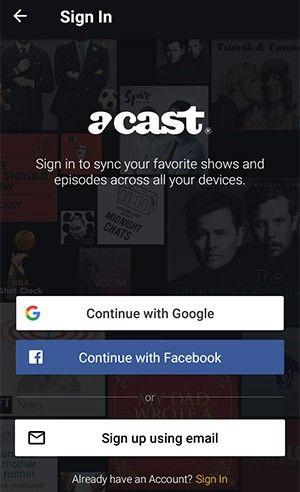 Om du vill dra maximal nytta av Acast loggar du in i appen.
