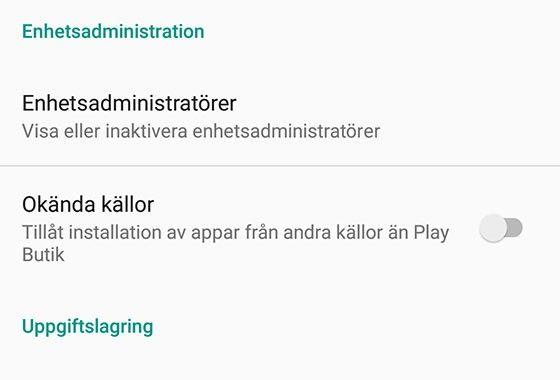 Android osäkra källor