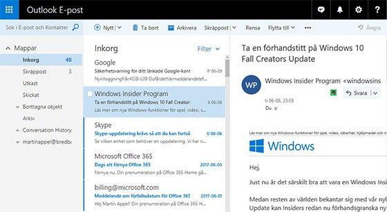 Börja använda ny mejl