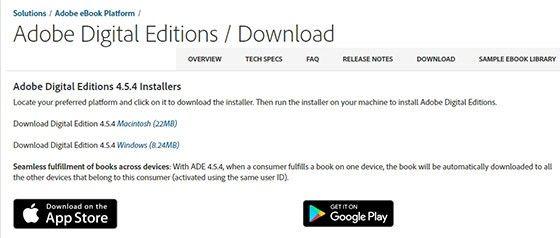 Adobe Digital Editions finns för olika plattformar.