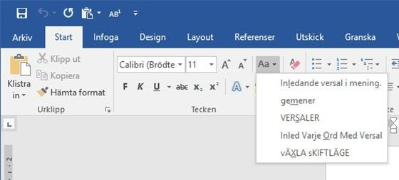 Funktionen för att ändra skiftläge i Word kan vara användbar när du skrivit fel.