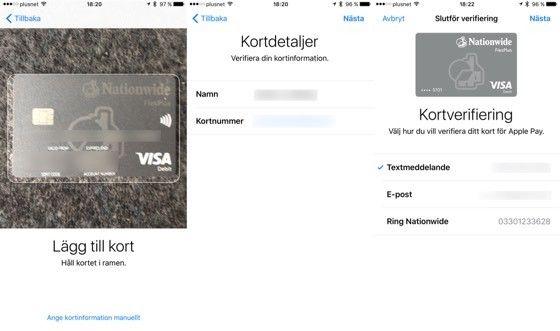 Lägg till ett kort i Apple Pay