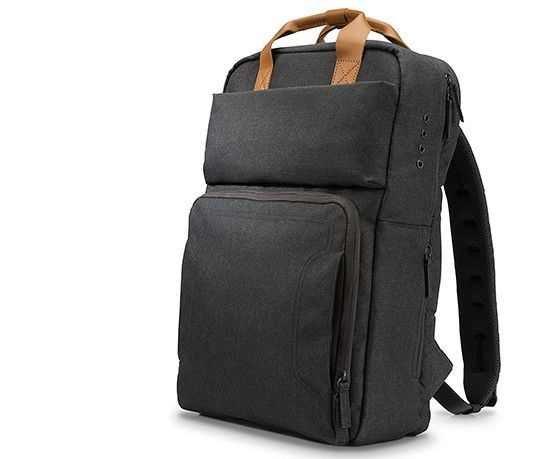 HP har designat en alldeles egen ryggsäck för att bära deras datorer i. Du  kan ladda upp till tre prylar och bestämmer själv vilket batteri som bör ... b4e439bc25af5