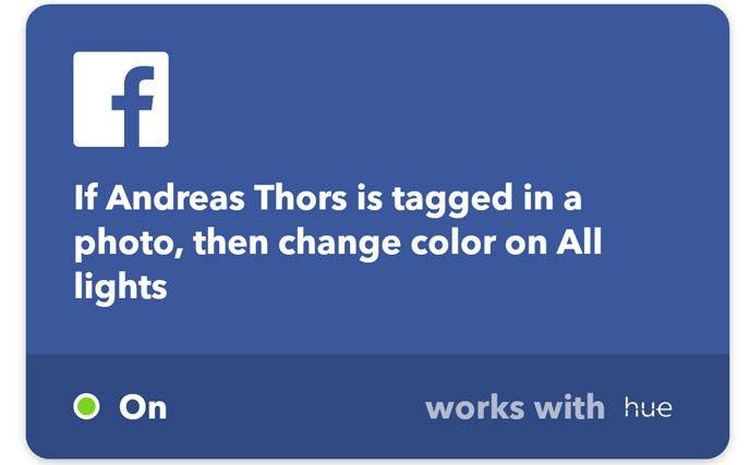 IFTTT Philips Hue Facebook notifikationer