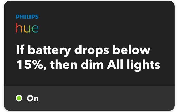 Philips Hue IFTTT dim lights
