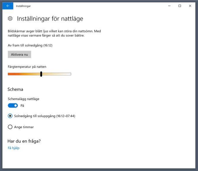 Nattläge i Windows 10 Fall Creators Update