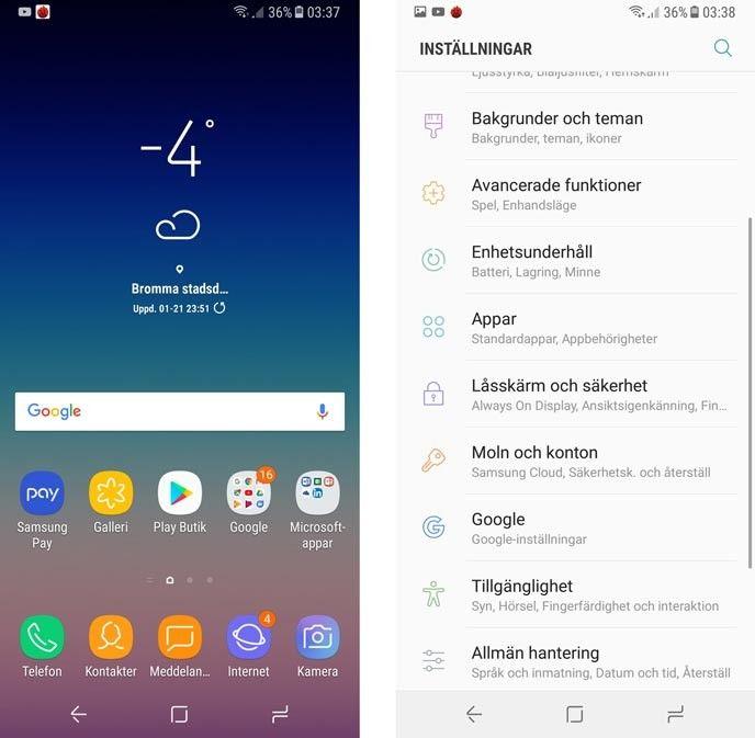 Samsung Galaxy A8 gränssnitt