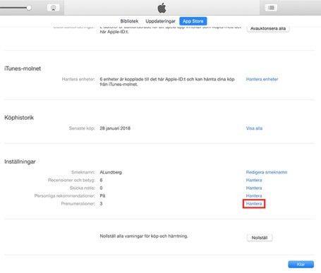 Hantera App Store-prenumerationer med Itunes