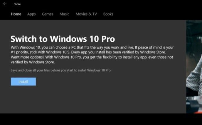 Uppgradera Windows 10 S
