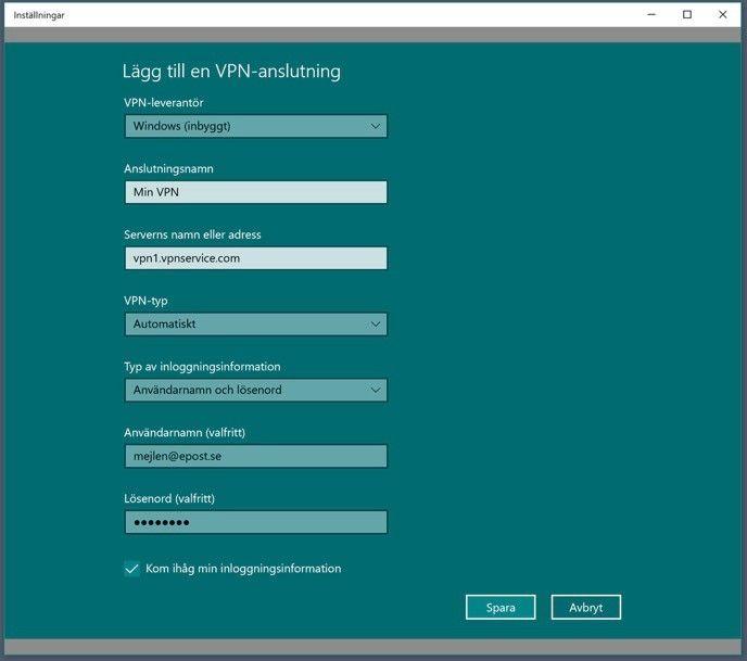 Windows vpn-inställningar