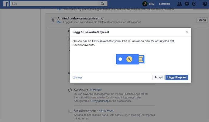 Facebook 2 factor