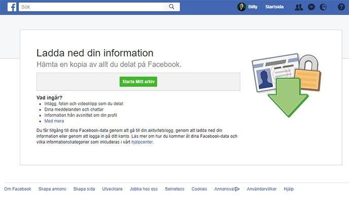 Det är enkelt att spara bilder, filmer, inlägg och annan information som ligger på Facebook.