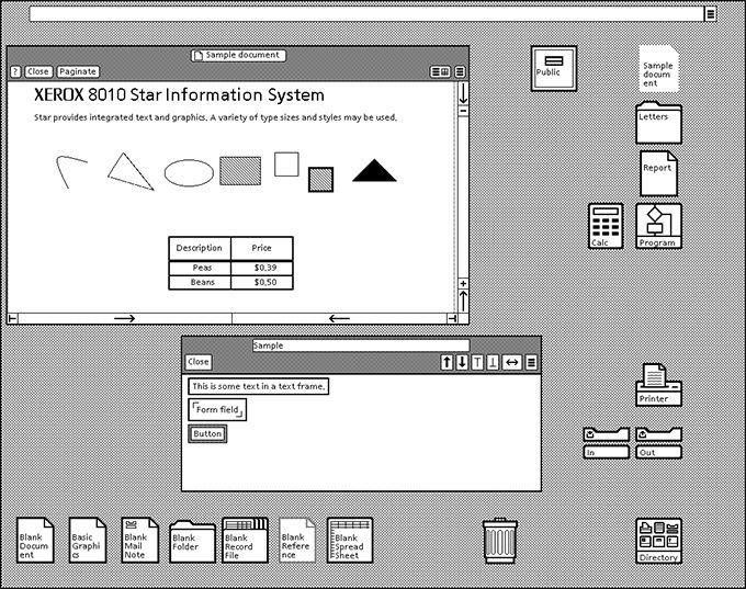 Xerox 8010 Star gränssnitt