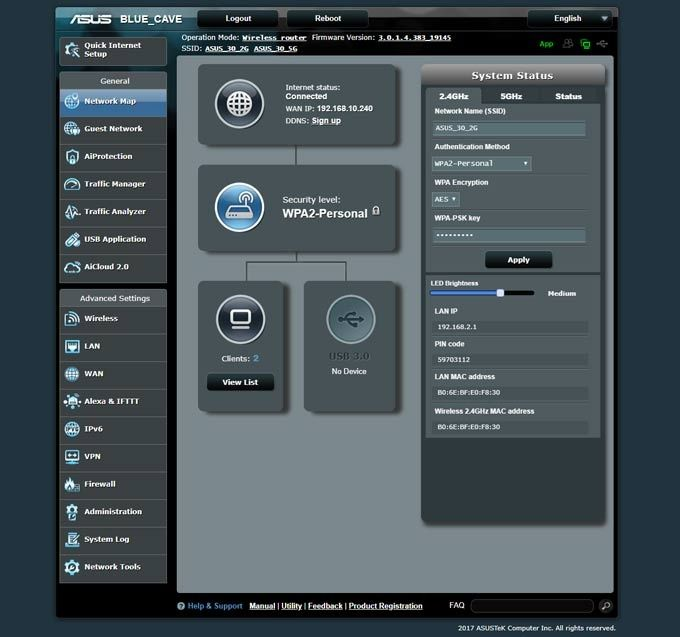 Asus webbgränssnitt