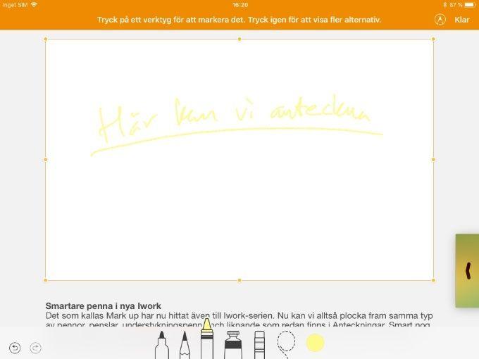 Iwork med Apple Pencil